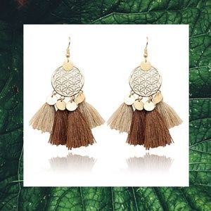 Jewelry - (Never worn!)Flower of Life Tassel Earrings